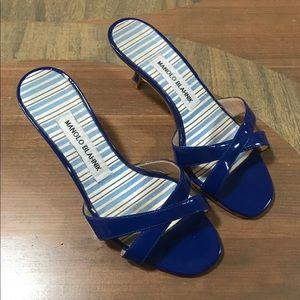 Manila Blahnik Royal Blue CALLAMU Kitten Heel